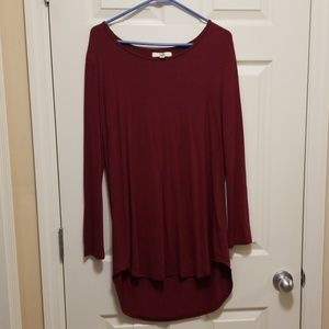 Burgundy tunic with fringe open back